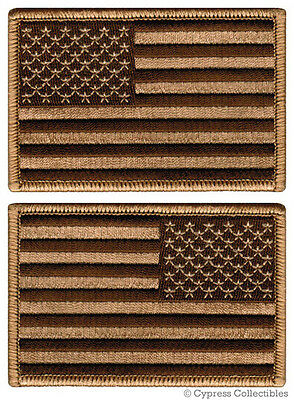 LOT 2 US AMERICAN FLAG MILITARY UNIFORM EMBROIDERED PATCH iron-on SUBDUED BROWN