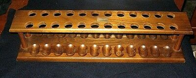 Large Vintage Wooden 24 Hole Pipe Tobacco Holder Stand