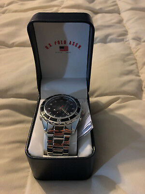 New Adult Us Polo Assn Stainless Steel Black/silver Face Wristwatch Watch