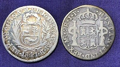 (2) PERU 2 Reales 1808 & 1841  SILVER COINs - NICE SHAPE!