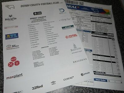 DERBY COUNTY  v  SOUTHAMPTON  2018/19  JAN 5th F.A.CUP 3rd   *COLOUR TEAM SHEET*