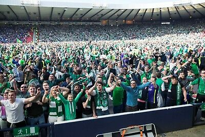 "FANTASTIC HIBERNIAN SCOTTISH CUP PITCH INVASION TOP QUALITY 12""x8"" PHOTOGRAPH"