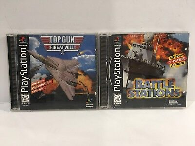 Playstation PS1 Battle Stations & Top Gun:Fire at Will Lot of 2 Games