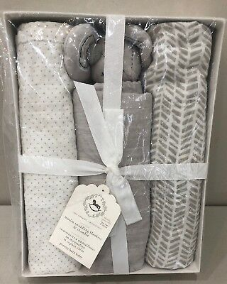 NWT Pottery Barn Kids Baby Gray MUSLIN THUMBIE & SWADDLE BLANKETS Set