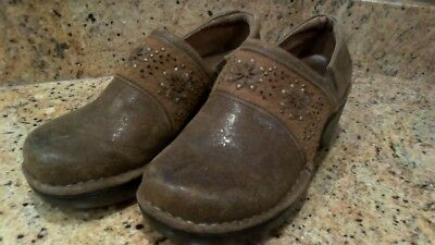 Womans Ariat Brown Leather Clogs Shoes Size 6.5B