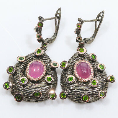 Jewelry unique SET Natural Ruby 925 Sterling Silver Earrings/E00963