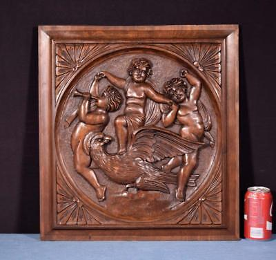 *Large French Antique Architectural Panel Door Solid Walnut Wood with Cherubs