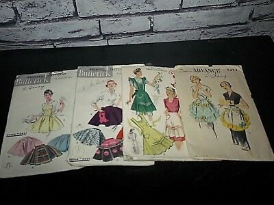 vtg lot of 4 McCall Advance Butterick 40's Sewing Patterns Aprons 1940s details