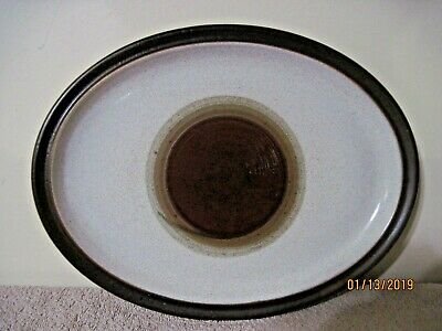 Vintage Denby Potters Wheel Oval Platter Brown England Nice