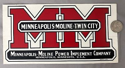 MINNEAPOLIS MOLINE Twin City Power Implement Farm Tractor DECAL ADVERTISING Minn