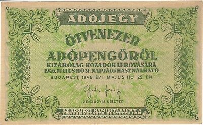 1946 50,000 Adopengo Tax Pengo Hungary Hyperinflation Note Bill Cash Banknote Xf
