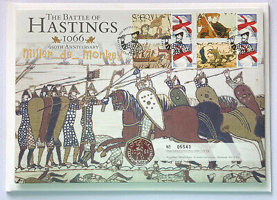 2016 BATTLE OF HASTINGS 50p PNC Stamp & BU Fifty Pence Coin Cover
