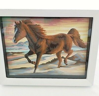 """Paint by Number Prancing Horse Oil Painting Completed Framed 9"""" x 7"""" 1970s"""