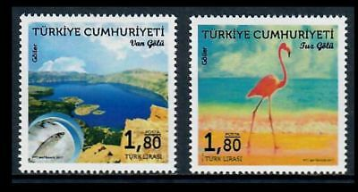 Turkey 2017 Fish and Flamingo on Pretty Lakes Issue of Two Stamps MNH