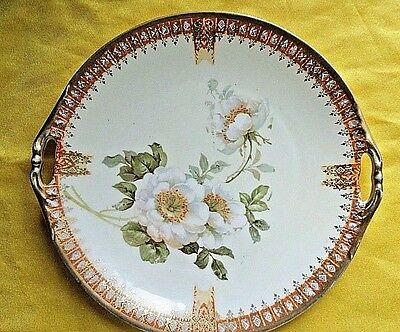 Antique Floral Hand painted Plate~M.W Co Prussia~Circa 19th Century~Beautiful