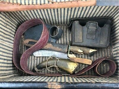 Civil War Soldiers Travel Trunk With Contents Knives,  Powder Horn Cartridge