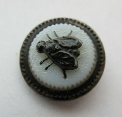 "Wonderful Old Antique~ Vtg GLASS in Metal BUTTON Enameled Fly Insect 3/4"" (E)"