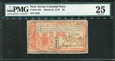 March 25, 1776 NEW JERSEY Colonial Currency 6 Pounds Note Fr#NJ-183 - PMG VF 25