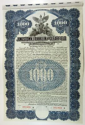 PA. Jamestown, Franklin & Clearfield Railroad Co., 1909 Specimen $1000 Gold Bond