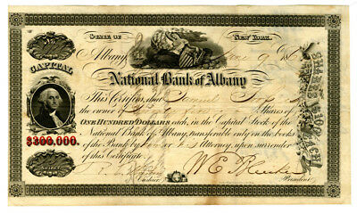 NY. National Bank of Albany, 1860 Stock Certificate 25 Shares
