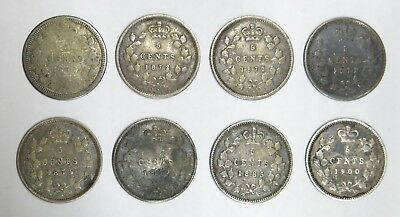 8 Antique Canada Silver Five Cents