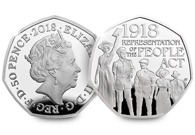 2018 Representation of the People Act 1918 50p coin
