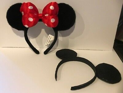 Minnie Mouse Ears Headband Disney Parks Red Polka Dot Bow & Glitter Ears no Bow
