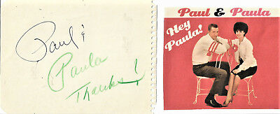Paul & Paula   Vintage In Person Hand Signed Autographs With Picture...