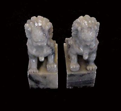 Vintage Pair Of Asian Carved Soapstone Foo Dogs Lion Statues Bookends Or Display