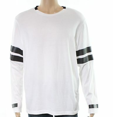 2cd70b3e4e INC NEW White Mens Size XL Contrast Stripe Long Sleeve Tee T-Shirt $39 #