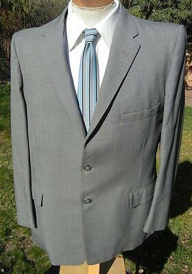 Super 1950s Dove Gray Blazer Suit Jacket 42S -Alterable TONY MARTIN Worsted Wool
