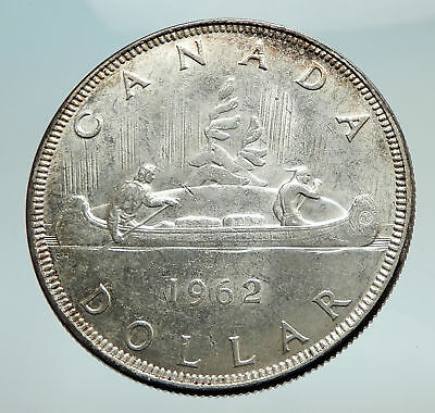 1962 CANADA w UK Queen Elizabeth II Voyagers Genuine Silver Dollar Coin i74508