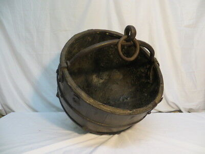 Vintage Antique Wooden Iron Well Bucket (100)