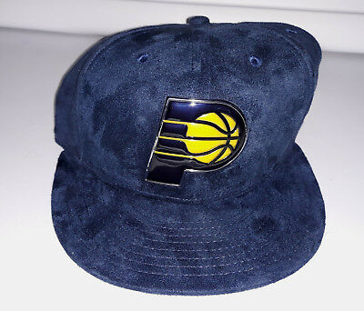 low priced 1150b 767d3 New Era Indiana Pacers Snapback Chrome Hat Cap 9FIFTY Blue Metal Plastic  Logo