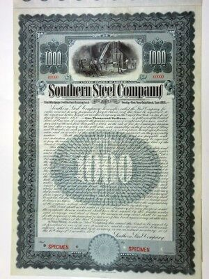 AL. Southern Steel Co., 1905 Specimen $1000 Gold Bond VF ABN