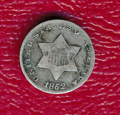 1852 Three Cent Silver Coin **nicely Circulated Type Coin** Free Shipping!!