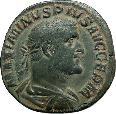 MAXIMINUS I THRAX Authentic Ancient 236AD Rome Sestertius Roman Coin PAX i74849