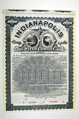 IN. Indianapolis Water Co. 1900 Specimen $1000 Bond. VF ABN