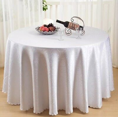 """Good Quality WHITE ROUND TABLE CLOTH 3m/120"""""""