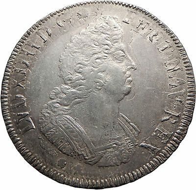 1702 FRANCE Sun King LOUIS XIV Huge 4.2cm Silver ECU FRENCH Bordeaux Coin i74843