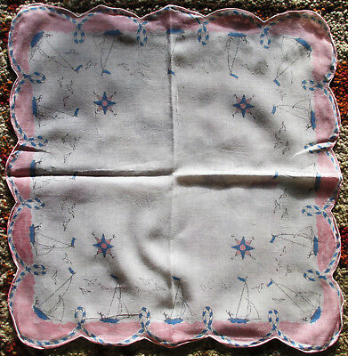 Vintage Ladies Hankie Sailboats Pink Border Scalloped Edge White Center, 1950s