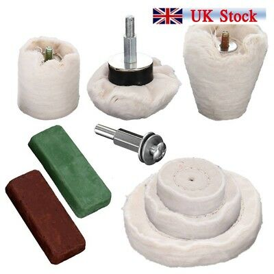 9x Polishing Buffing Kit for Aluminium Steel Brass Plastic for Drill UK