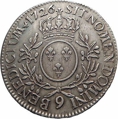 1726 FRANCE King LOUIS XV Huge 4.1cm Silver ECU FRENCH Rennes LYS Coin i74845