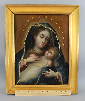 Early 19thC Antique Catholic Religious Icon Oil Painting Virgin Mary, Baby Jesus