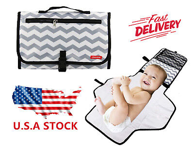 Baby Portable Folding Diaper Travel Changing Pad Waterproof Mat Bag Storage USA
