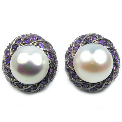 Natural 11 Mm. Aaa White Pearl & Purple Amethyst Sterling 925 Silver Earring