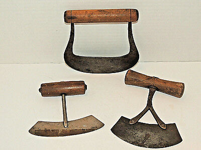 (3) Antique Primitive 1800's Hand Forged Iron & Wood Food Choppers, Tools