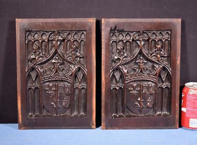 *Pair of French Antique Gothic Revival Panels in Walnut Wood Salvage