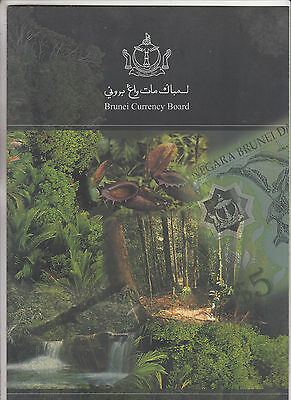 Brunei. 2003. Strip of 3 x 5 Ringgits Polymer Uncut Banknotes in Official Folder