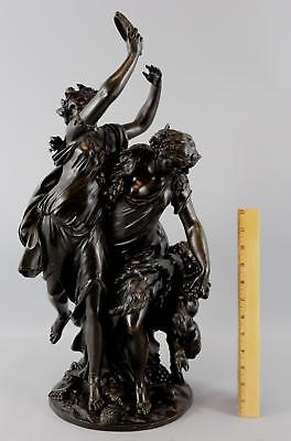 Large Antique Bacchanale Bronze Sculpture by Michel Claude Clodion, NR